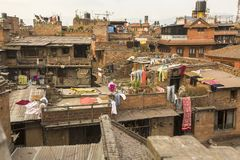 BHAKTAPUR, NEPAL - Nepali houses in the city center Royalty Free Stock Photos
