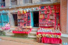 BHAKTAPUR, NEPAL - NOVEMBER 04, 2017: Beautiful blurred handicrafts at shop at Durbar Square in Bhaktapur, Kathmandu Stock Photos