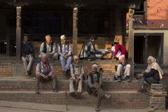 BHAKTAPUR, NEPAL - NOVEMBER 20: People staying and relax in Bhak. Tapur on November 20, 2014 in Bhaktapur, Nepal Royalty Free Stock Image