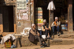 BHAKTAPUR, NEPAL - NOVEMBER 20: People staying and relax in Bhak. Tapur on November 20, 2014 in Bhaktapur, Nepal Royalty Free Stock Photography