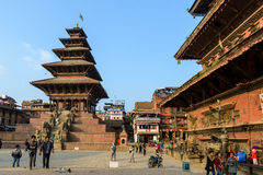 Bhaktapur, Nepal. NOVEMBER 15, 2015: Taumadhi square with Nyatapola temple on the left and  Bhairavnath temple on the right Stock Photography