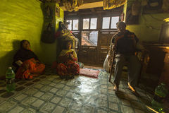 BHAKTAPUR, NEPAL -  poor people in his house. Stock Images