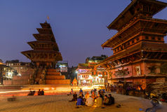 Bhaktapur at night, Nepal. BHAKTAPUR, NEPAL - NOVEMBER 15, 2015: Taumadhi square at night with Nyatapola temple on the left and  Bhairavnath temple on the right Royalty Free Stock Image