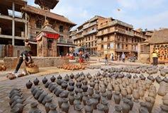 Bhaktapur pottery market square Stock Image