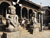 Bhaktapur temple guardians Royalty Free Stock Photography