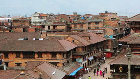 Bhaktapur town center view from above stock video
