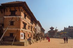 Bhaktapur years after the earth quake damage is still visible, Nepal royalty free stock photos