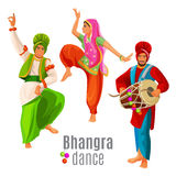 Bhangra dance concept men and woman in national cloth dancing Royalty Free Stock Image