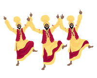Bhangra dance. An illustration of three punjabi men performing a bhangra dance in colorful red and yellow traditional dress on a white background Stock Image