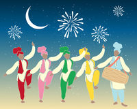 Bhangra dancers. An illustration of a group of colorful punjabi dancers with drummer under a festive night sky Stock Photos