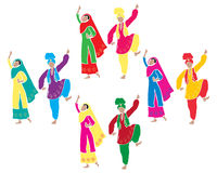 Bhangra entertainment. An illustration of traditional punjabi bhangra dancing with four couples dressed in colorful costumes on a white background Stock Images