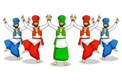 Bhangra facente sikh Immagini Stock