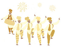 Bhangra gold. An illustration of a bhangra dance in gold with fireworks on a white background Royalty Free Stock Photography