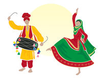 Bhangra. An illustration of male and female bhangra dancers dressed in traditional clothes on a white background with a big yellow sun Stock Photo