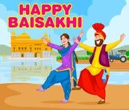 Bhangra que hace sikh, danza popular de Punjab, la India ilustración del vector