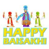 Bhangra que hace sikh, danza popular de Punjab, la India stock de ilustración