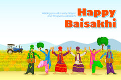 Bhangra que hace sikh, danza popular de Punjab, la India Imagen de archivo libre de regalías
