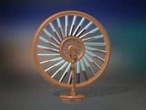 Bhaskara`s wheel. Perpetual motion machine. Perpetuum mobile. Physics. stock illustration