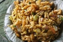 Bhel puri -街道食物普遍在北部印度 免版税库存照片