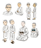 Bhikkhuni nun are fully ordained Buddhist nun, cartoon vector Royalty Free Stock Photo