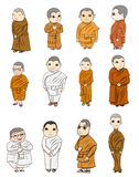 Bhikkhuni outline are fully ordained Buddhist nun, cartoon vector Stock Photography