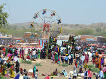 Bhil tribe fair. Traditional swings in village of bhil tribe in India royalty free stock image