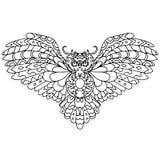 Búho de alta calidad para colorear o el tatuaje aislado en blanco Fotos de archivo