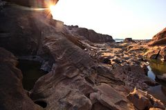 bhokphan sam solnedgång Arkivbild