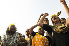 Bhopal. BHOPAL- DECEMBER 3: Angry women of Bhopal chant slogans during the rally to mark the 26th year of the Bhopal Gas Disaster in Bhopal - India on December Royalty Free Stock Photo