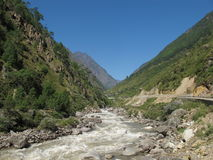 Bhote Khosi, river in Nepal. New road from Nepal to Tibet. Border area Royalty Free Stock Photo