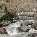 Bhote Khosi. River in Nepal. Rasuwa Garhi Highway Royalty Free Stock Image