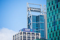 BHP Biliton and AMP Headquarter Perth. Perth, Western Australia - February 21, 2017: Office buildings of BHP Biliton and AMP, mining and banking companies , with Stock Images