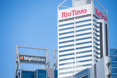 BHP Biliton and Rio Tinto Headquarter Perth. Perth, Western Australia - February 21, 2017: Office buildings of BHP Biliton and Rio Tinto, two of the biggest Royalty Free Stock Photos