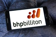 BHP Billiton company logo. Logo of BHP Billiton company on samsung mobile. BHP Billiton is an Anglo-Australian multinational mining, metals and petroleum dual Royalty Free Stock Images