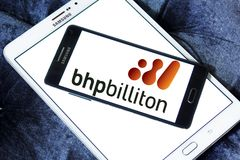 BHP Billiton company logo. Logo of BHP Billiton company on samsung mobile. BHP Billiton is an Anglo-Australian multinational mining, metals and petroleum dual Royalty Free Stock Photos
