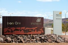 NEWMAN, AUSTRALIA - February 28, 2018:. BHP Billiton is the second largest iron ore mining company in the Pilbara & owns the majority of the Mt Whaleback Stock Photography