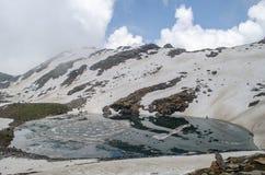 The bhrigu lake. Bhrigu lake is a high altitude lake at 4300m near Manali, Himachal pradesh, India Stock Image