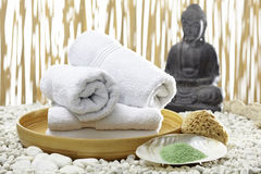 Bhuddha, towels, bath salts Royalty Free Stock Images