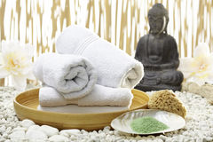 Bhuddha, towels, bath salts Royalty Free Stock Photography