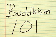 Bhuddhism 101 auf einem gelben Kanzleibogenblock Stockbilder
