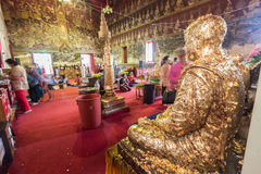 Bhuddist make worship in thai temple Royalty Free Stock Photography