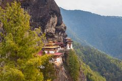 Bhuddist monastery in Himalayan mountains, Bhutan. Bhuddist monastery called Paro Taktsang, the Tiger`s Nest in Himalayan mountains. Paro District, Bhutan royalty free stock photo