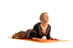 Bhujangasana, a position in Yoga, is also called Royalty Free Stock Image