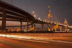 Bhumibol桥梁工业圆环桥梁或兆桥梁 免版税库存照片