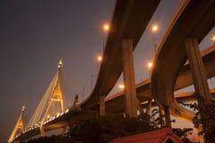 Bhumibol桥梁工业圆环桥梁或兆桥梁 免版税图库摄影