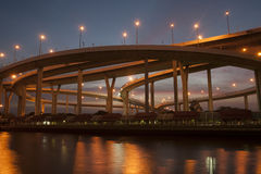 Bhumibol桥梁的暮色风景看法 免版税库存照片