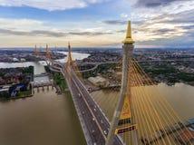 Bhumibol桥梁,日落的曼谷 库存照片