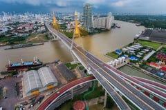 Bhumibol桥梁,日落的曼谷 免版税图库摄影