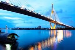 Bhumibol-мост, городской пейзаж Бангкока Стоковая Фотография
