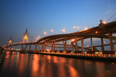 Bhumibol, aka Industrial Ring road, bridge at dusk Stock Image
